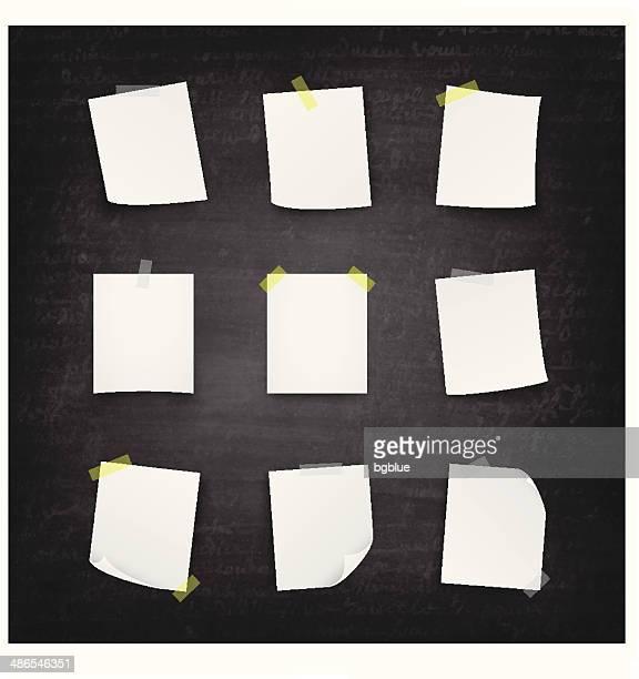blank paper blackboard - chalkboard - post it stock illustrations, clip art, cartoons, & icons