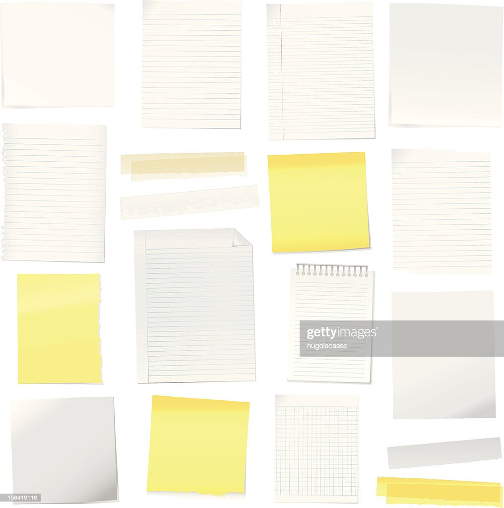 Blank Paper note with Bends and Tears