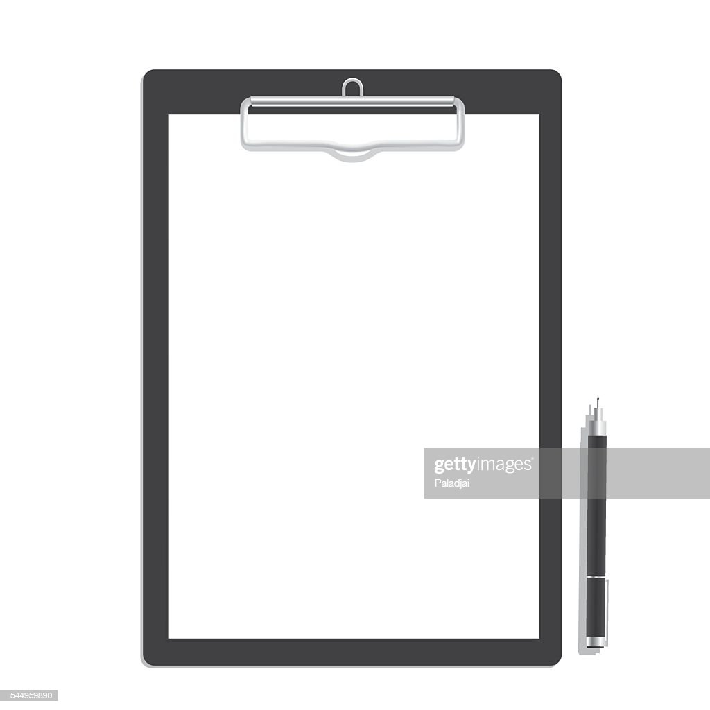 Blank paper on clipboard and black pen mock up vector.