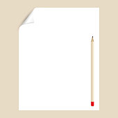 Blank paper page with pencil, empty page template