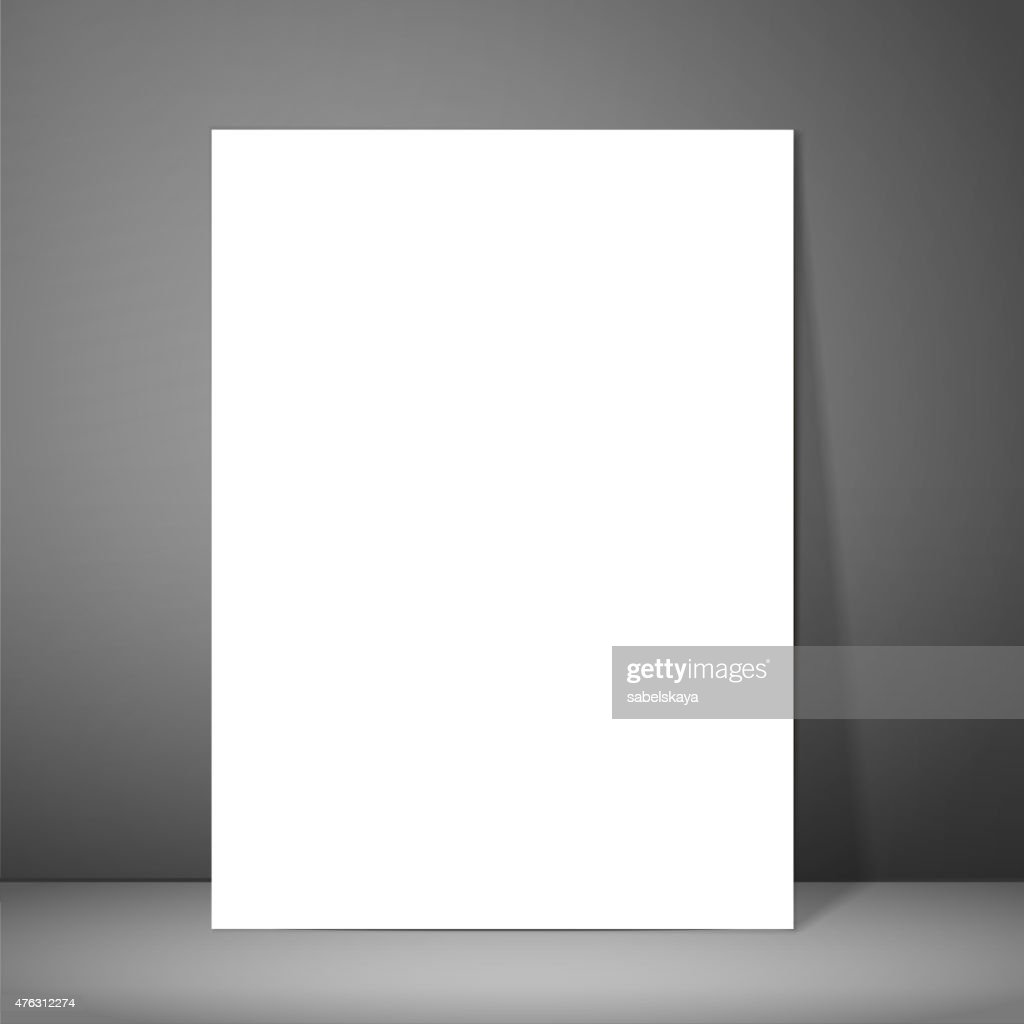 Blank paper poster on wall. Mockup presentation