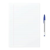 Blank paper with blue ballpoint pen on white backgorund