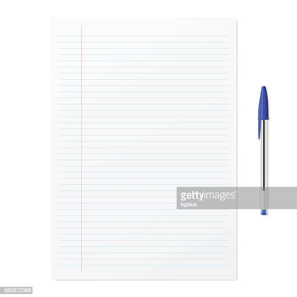 blank paper with blue ballpoint pen on white backgorund - lined paper stock illustrations