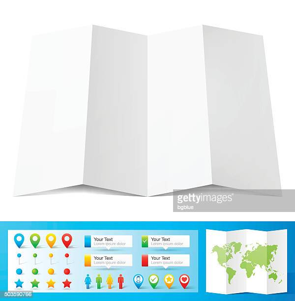 Blank paper with location pins isolated on white Background