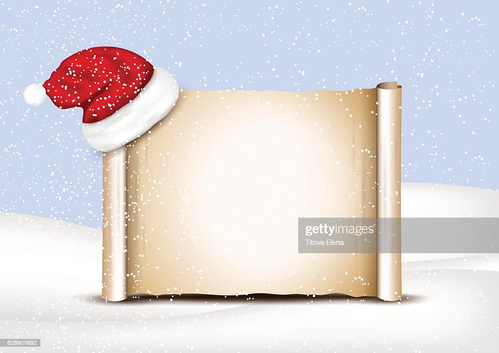 Blank paper with Santa Hat on a winter christmas background
