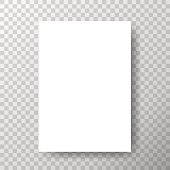 Blank paper with shadow on transparent vector background.