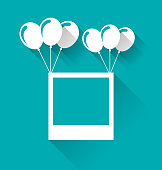 Blank photo frame with balloons for your holiday