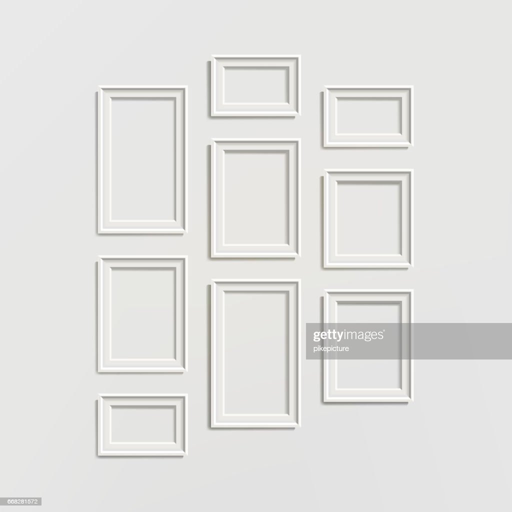 Blank Picture Frame Template Composition Set Vector Isolated on Wall Background