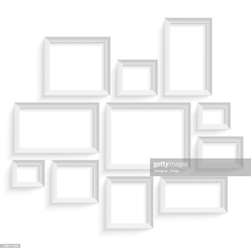 Blank picture frame template set isolated on wall. Photo art