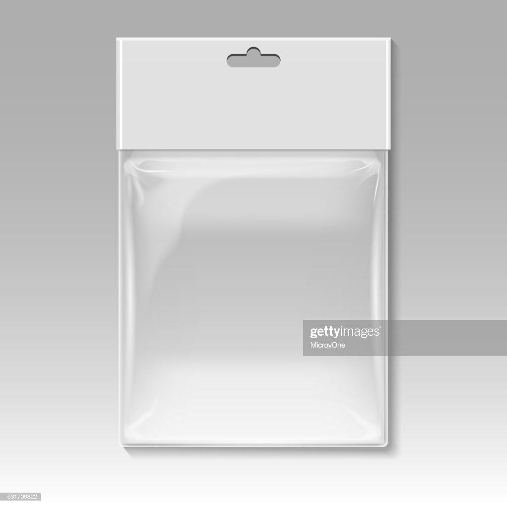 Blank plastic pocket bag vector template