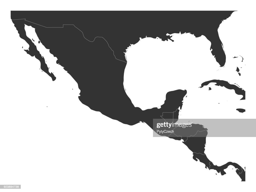 Blank Political Map Of Central America And Mexico Simple Dark Grey