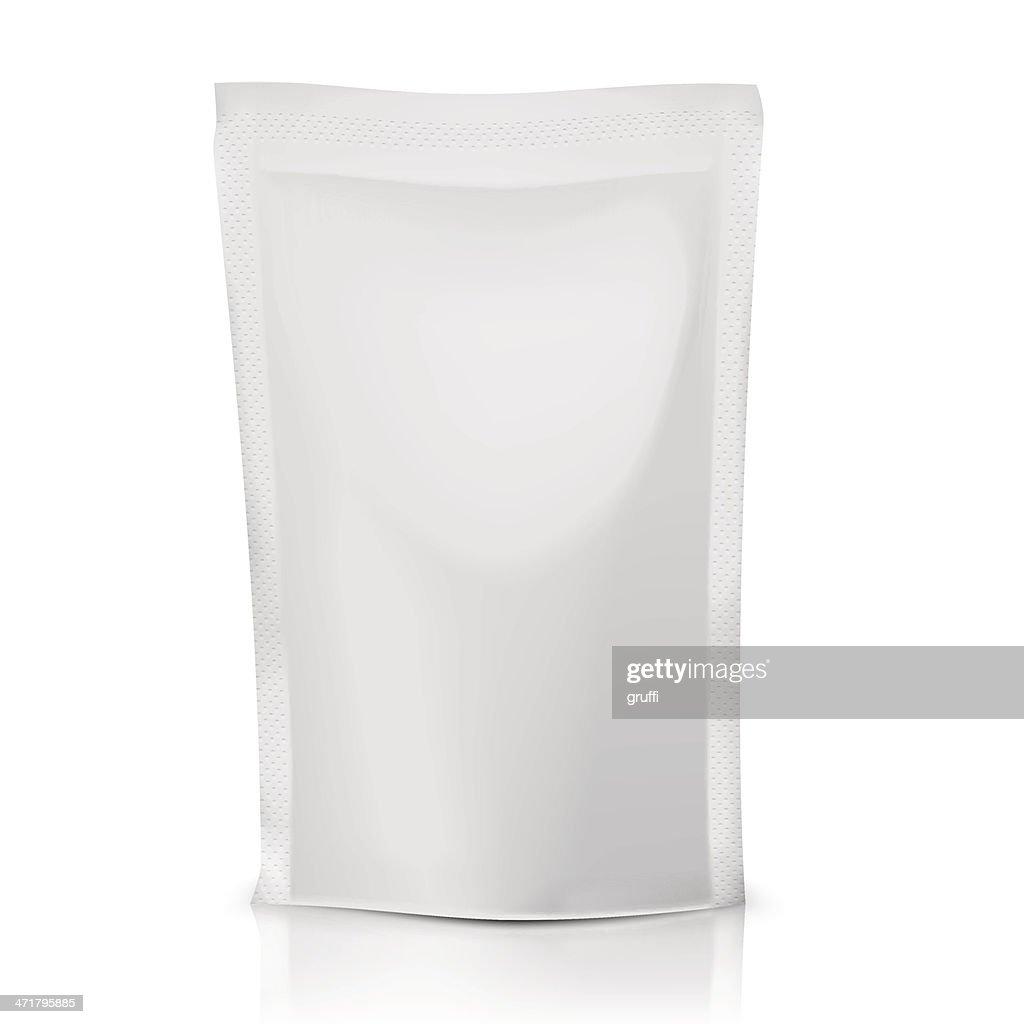 Blank polythene bag package.