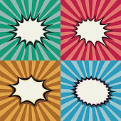 Blank pop art speech bubbles and burst shapes on retro superhero sunset background vector set