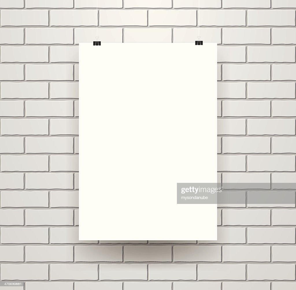 blank poster template on seamless brick wall vector art getty images