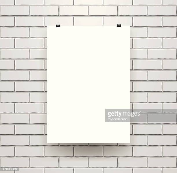 Blank Poster Template on Seamless Brick Wall