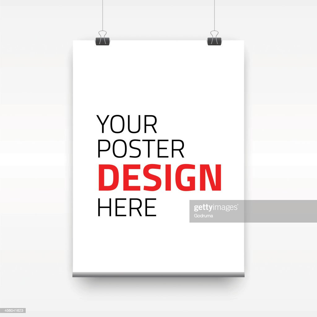 Blank poster template with binder clips on white background