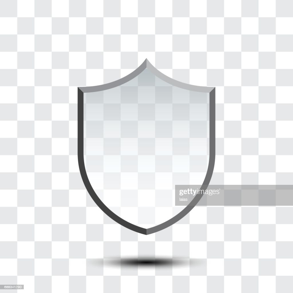 Blank protection shield icon isolated on white background