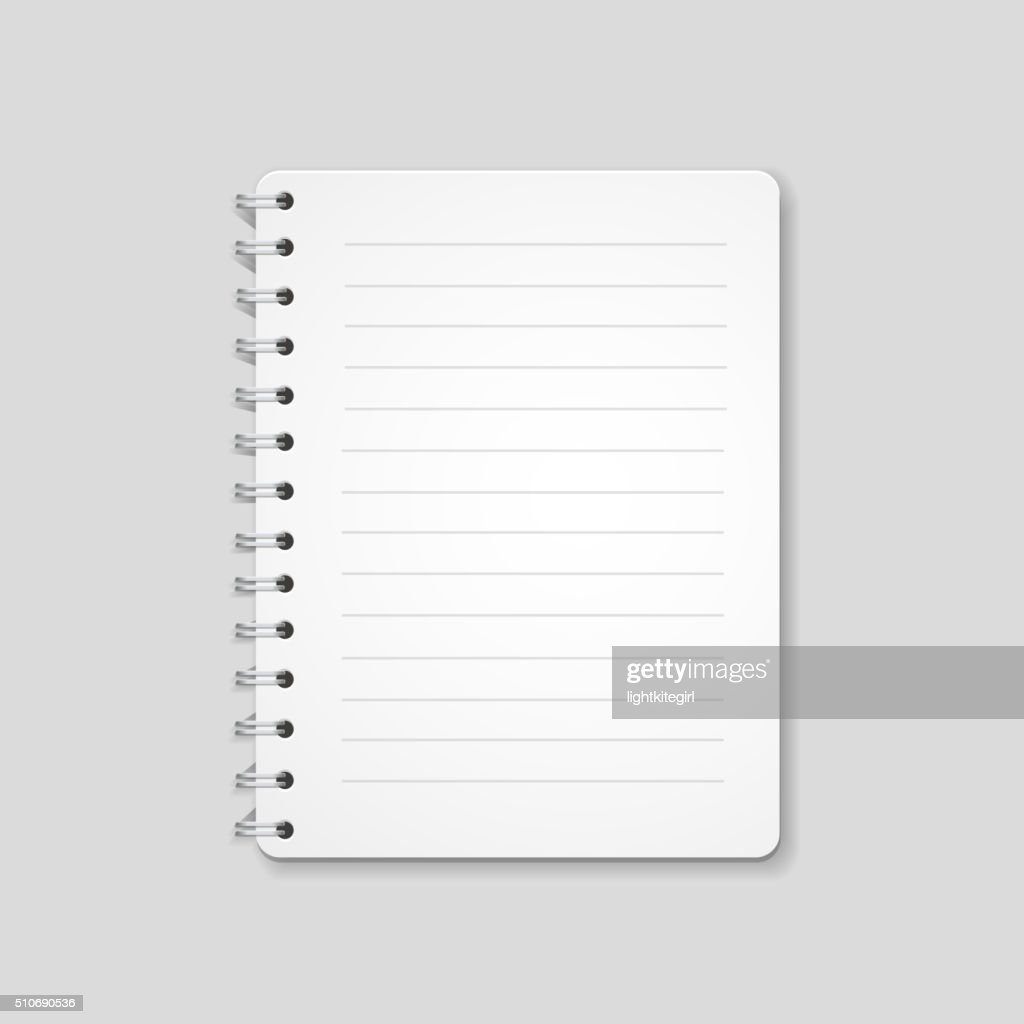 Blank realistic spiral notebook, notepad isolated on white background