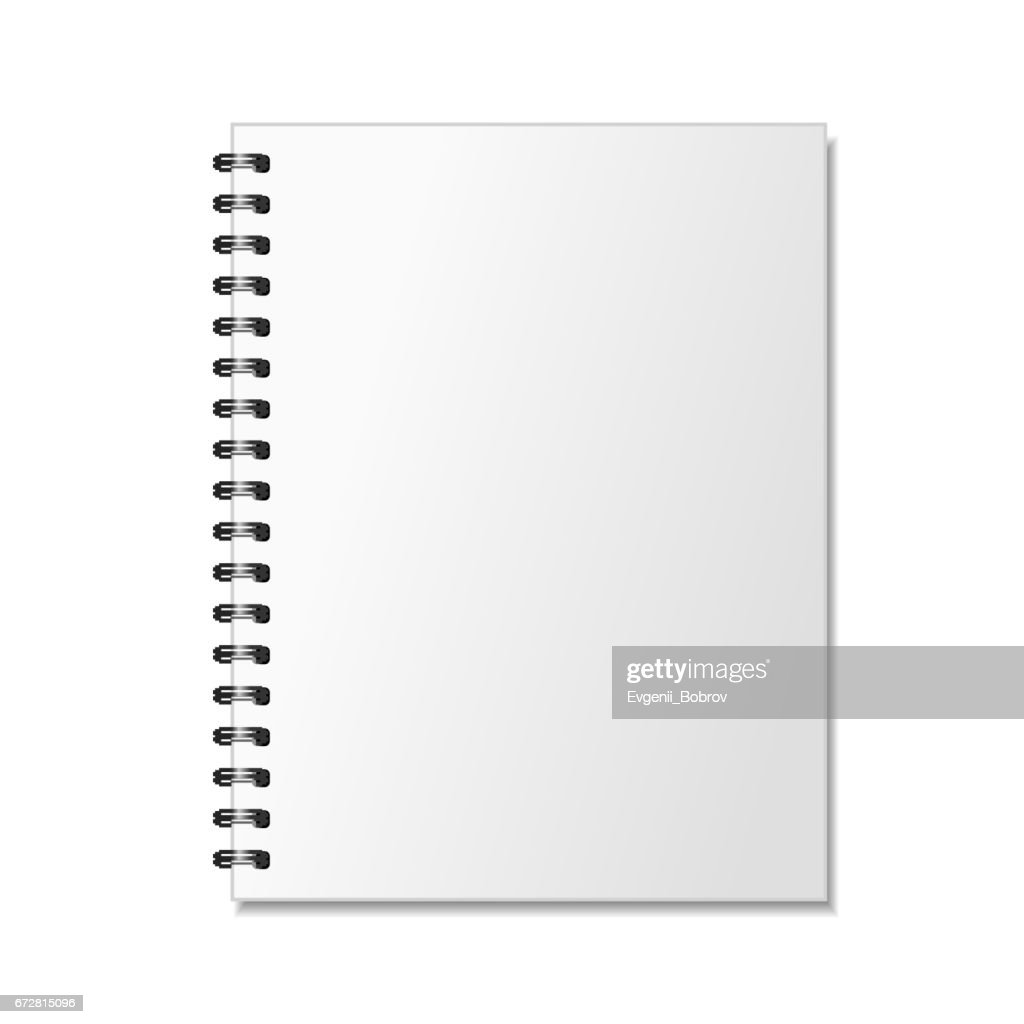 Blank realistic spiral notepad mockup for branding on white