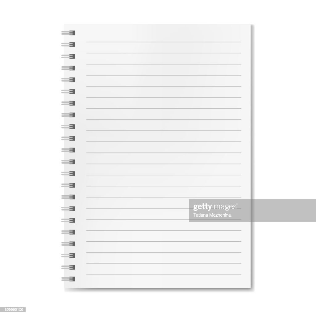 Blank realistic vector lined notebook with shadow