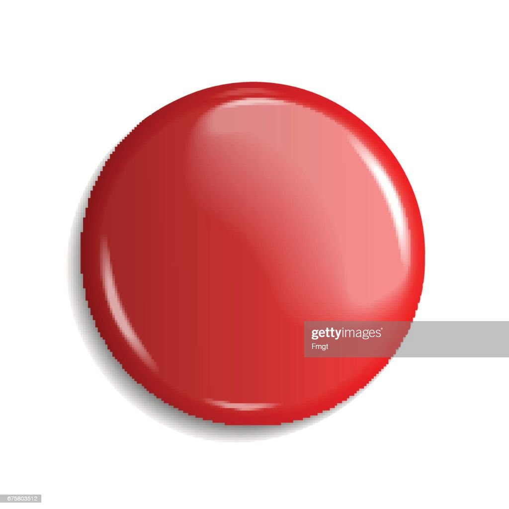 blank, red glossy badge or web button. vector illustration