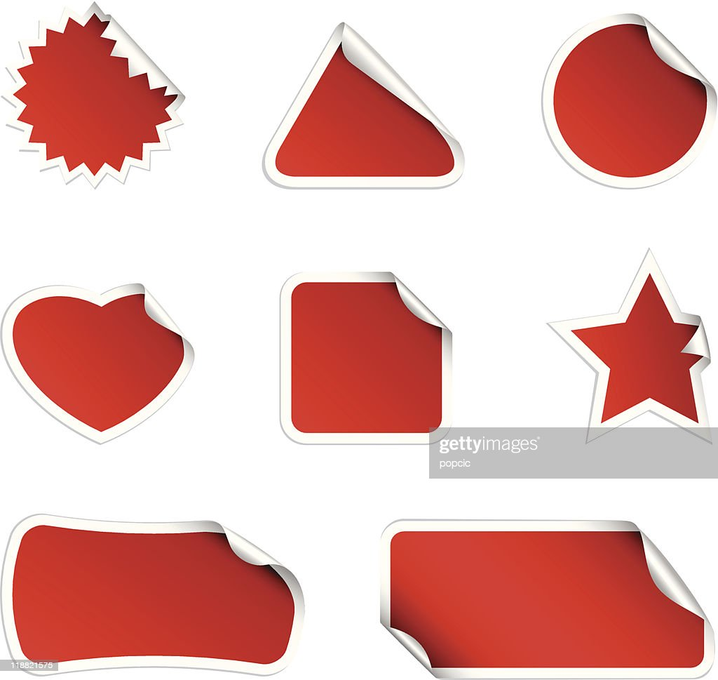 Blank red stickers of various shapes