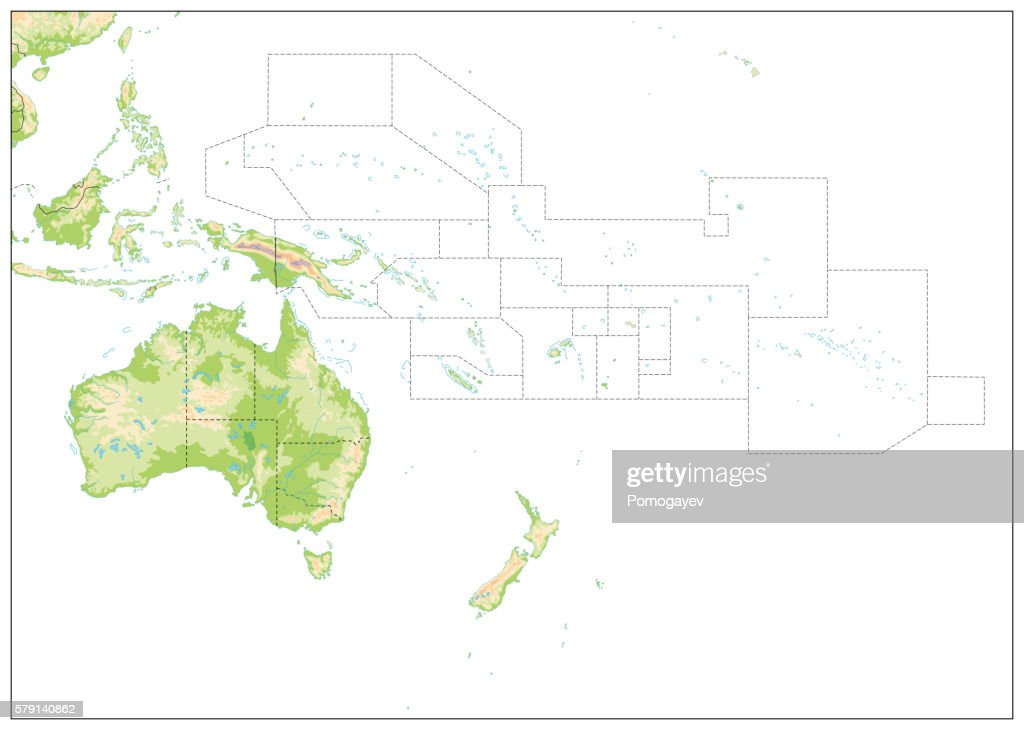 Blank Relief Map of Oceania isolated on white