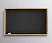 Blank retro class blackboard with chalk pieces. Empty black chalkboard vector illustration for education concept