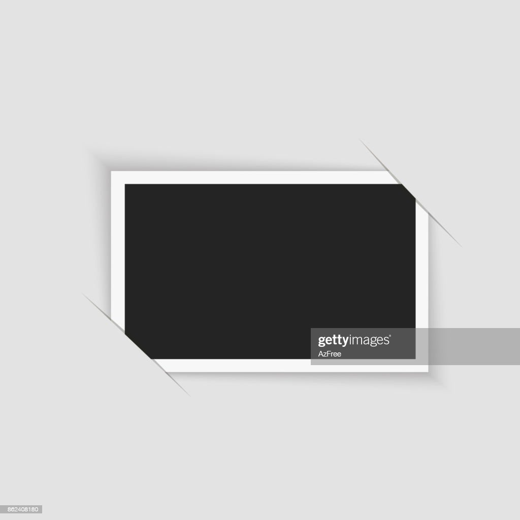 Blank retro photo frame over white. Vector illustration.