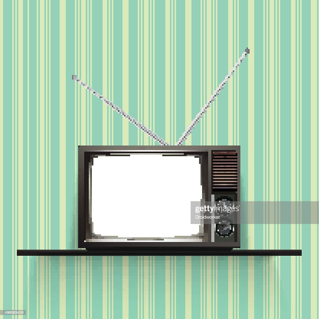 Blank retro tv  Realistic Vector Illustration.