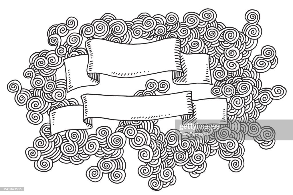 Blank Ribbon Swirl Pattern Drawing : stock illustration