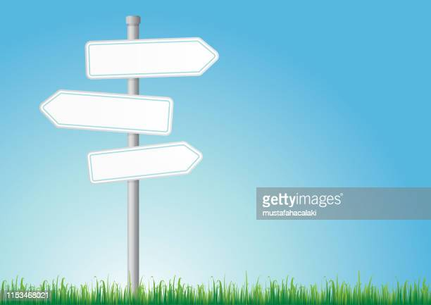 blank road signs on a day - directional sign stock illustrations