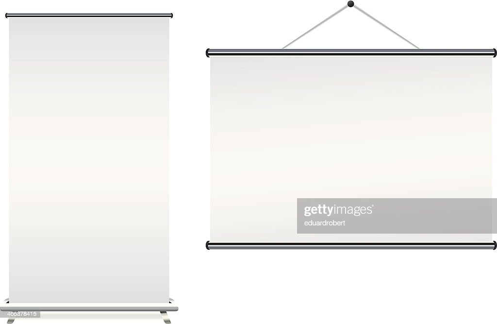 Blank roll up banner displays on a white background