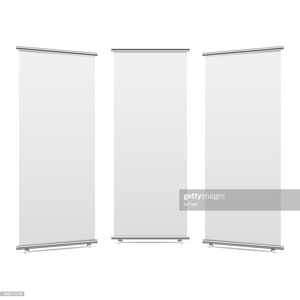 Blank roll-up banner display, isolated with clipping path. Vector.