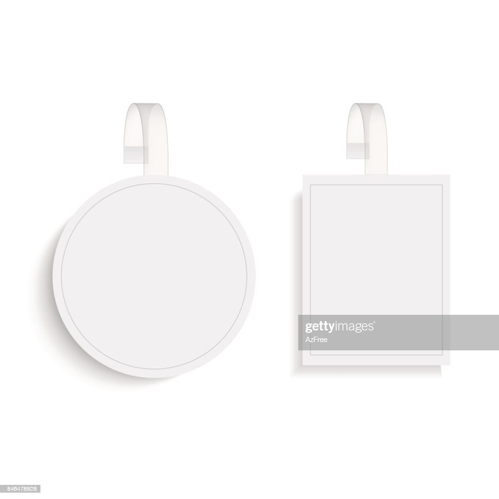 Blank round and square wobbler with transparent strip. Vector.