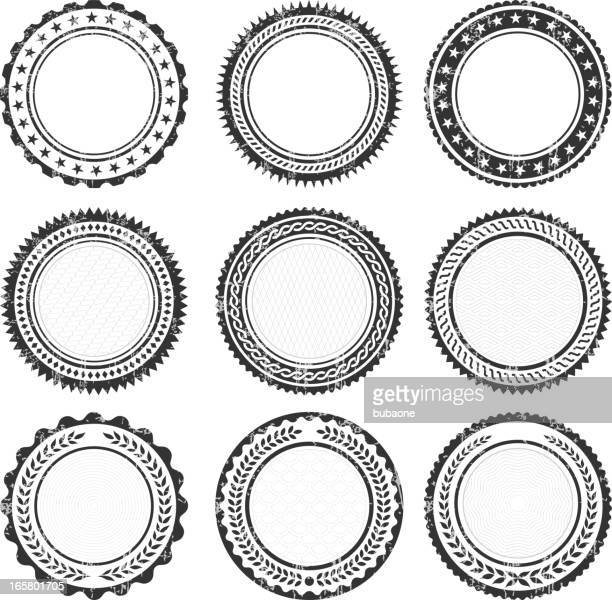 blank round insignia promotional badges grunge texture - seal stock illustrations