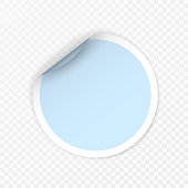 Blank round sticker with curled corners on transparent background, realistic mockup