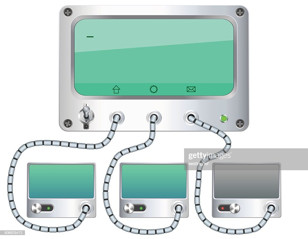 Blank screens connected. Vector illustration.