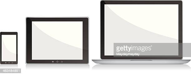 blank screens laptop, smartphone and digital tablet pc - blank screen stock illustrations, clip art, cartoons, & icons