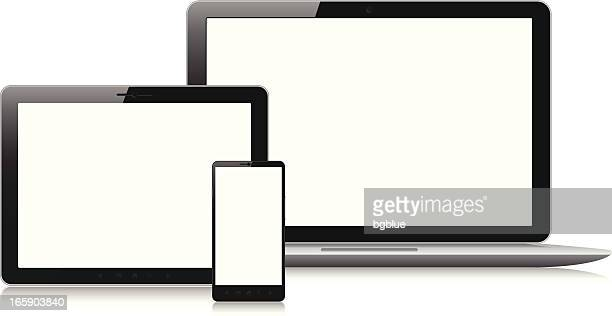 blank screens on various electronic devices - blank screen stock illustrations, clip art, cartoons, & icons
