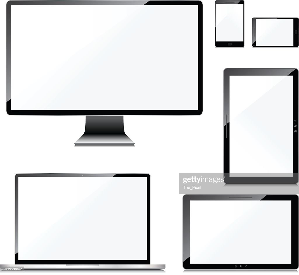 Blank screens set, isolated on white background