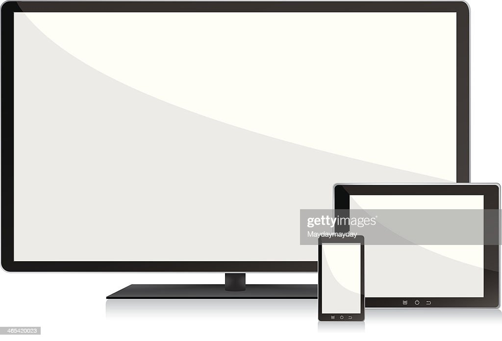 Blank screens television, smartphone and digital tablet pc : stock illustration