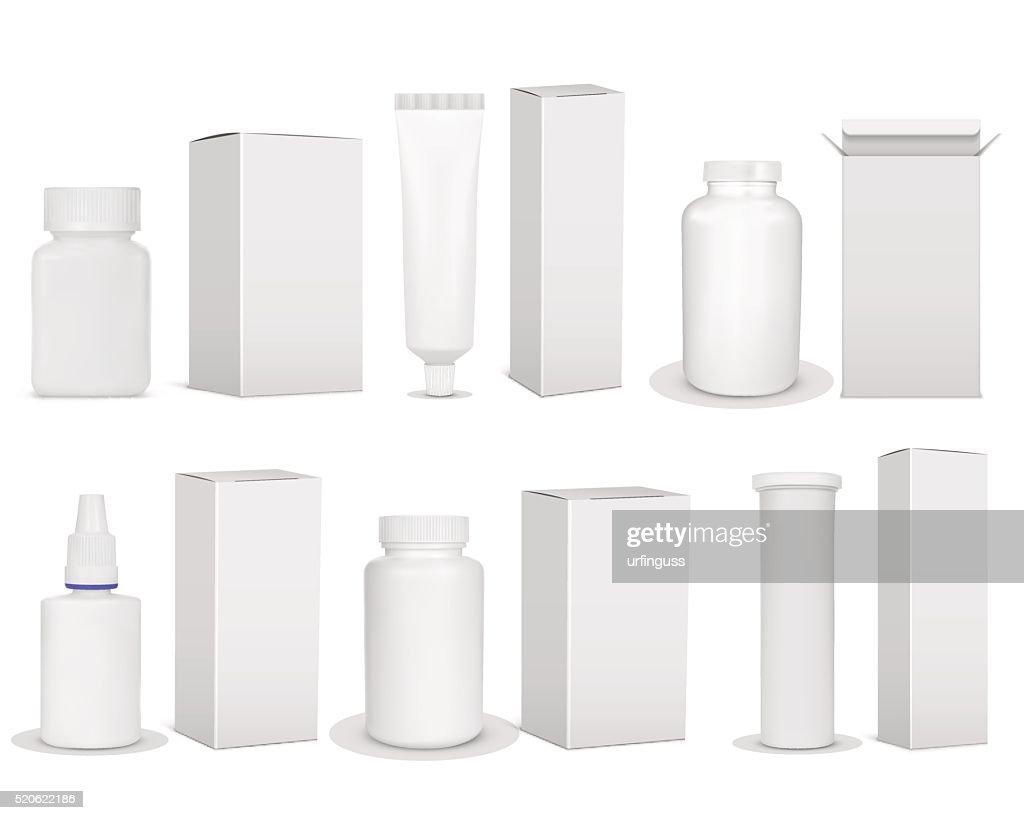 Blank set of plastic packaging bottles