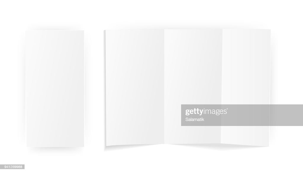 A blank sheet of paper folded . Mock Up Template. Isolated on white background. Vector Illustration