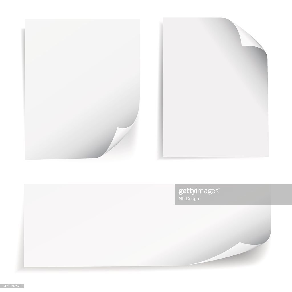 Blank Sheet Paper Page Curl Set