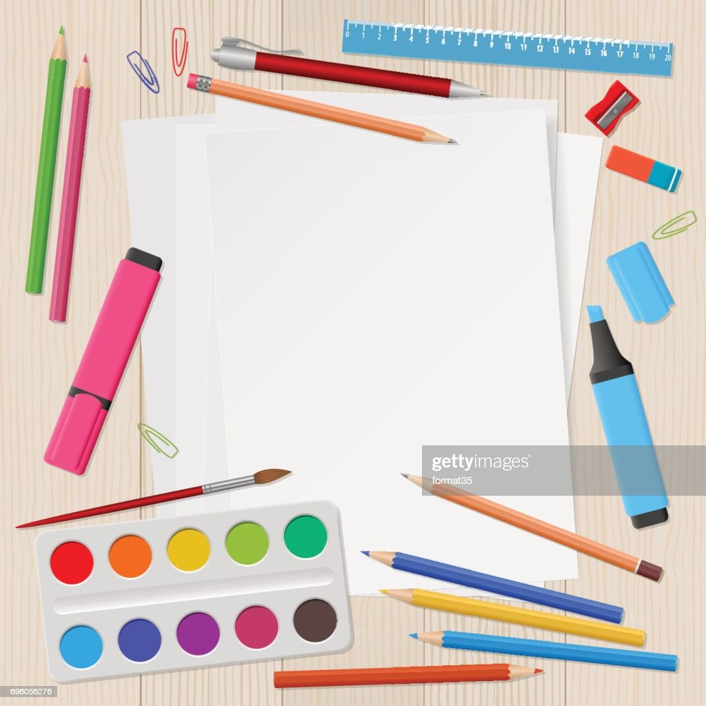 Blank sheets of paper with school supplies