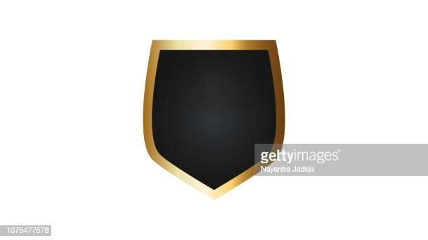 ilustraciones, imágenes clip art, dibujos animados e iconos de stock de icono de escudo en blanco con marco de oro - honra