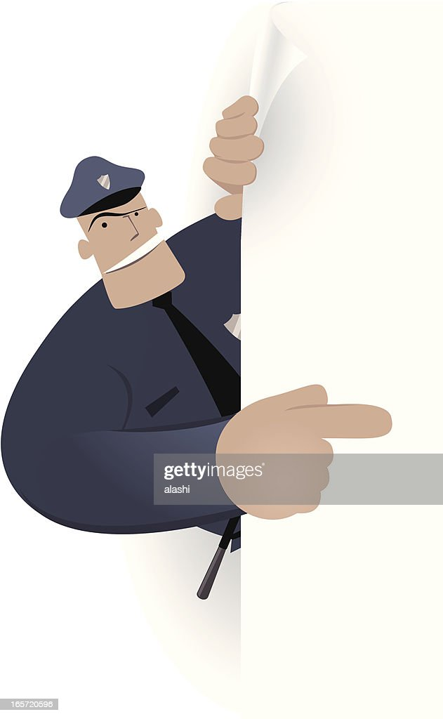 Blank sign - Police Officer pointing by index finger