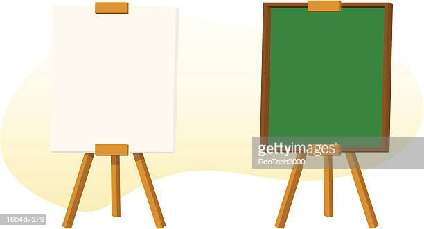 blank signs on easels - easel stock illustrations