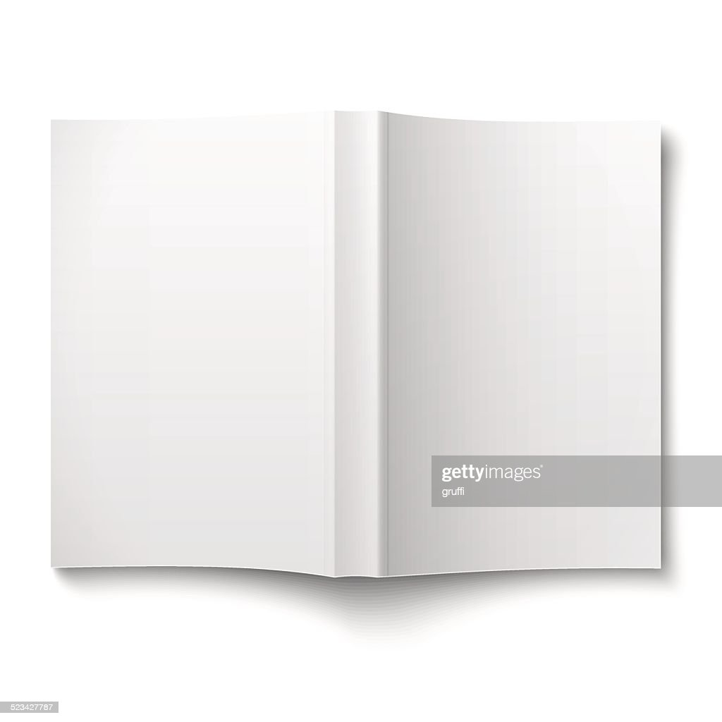 Blank softcover book template spread out on white.